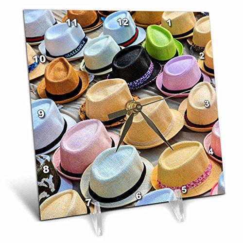 3dRose Danita Delimont - Markets - Spain, Balearic Islands, Palma de Mallorca, hats for sale at market. - 6x6 Desk Clock (dc_277906_1) by 3dRose