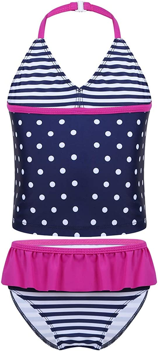 Alvivi Girls Two Piece Halter Tankini Swimsuit Swimwear Sports Tank Top with Swim Shorts Summer Bathing Suit