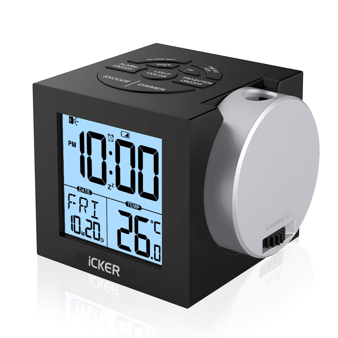 iCKER Projection Alarm Clock for Bedrooms, Digital Clock for Kids, 12/24 Hours, Indoor Temperature/Day/Date Display with Dimming, 7-Color Nightlight, Battery & DC Powered