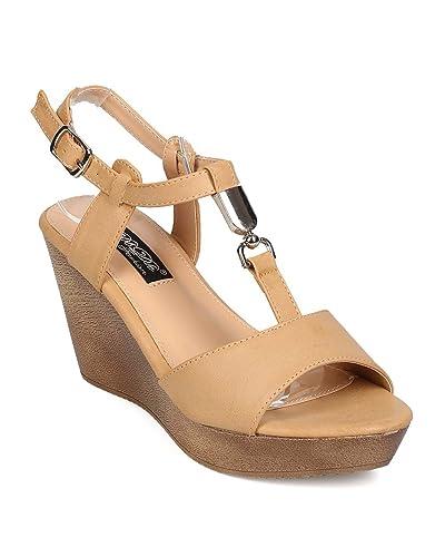5e50296260c DBDK Women Leatherette Open Toe Ankle Strap Platform Wedge Sandal EH85 -  Nude (Size