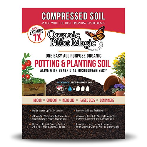 Compressed Organic Potting-Soil for Garden & Plants - Expands up to 7 Times when Mixed with Water - Nutrient Rich Plant Food Derived from Natural Coconut Coir & Worm Castings Fertilizer (Plants Soil Potting)