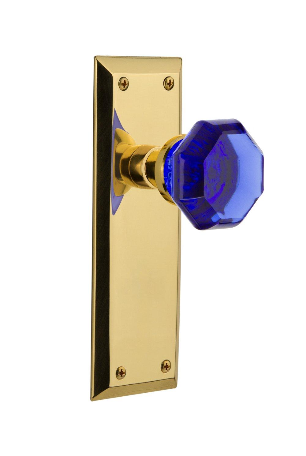 2.75 Nostalgic Warehouse 720888 New York Plate Passage Waldorf Cobalt Door Knob in Polished Brass