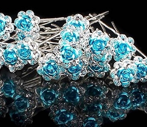 Various Beautiful Designs of Pearl/Crystals and Rhinestone Flower Hair Pins for Brides/Bridesmaids/Prom/Sweet Sixteen/Quinceanera/Weddings - Set of 20 (Light Blue Roses)