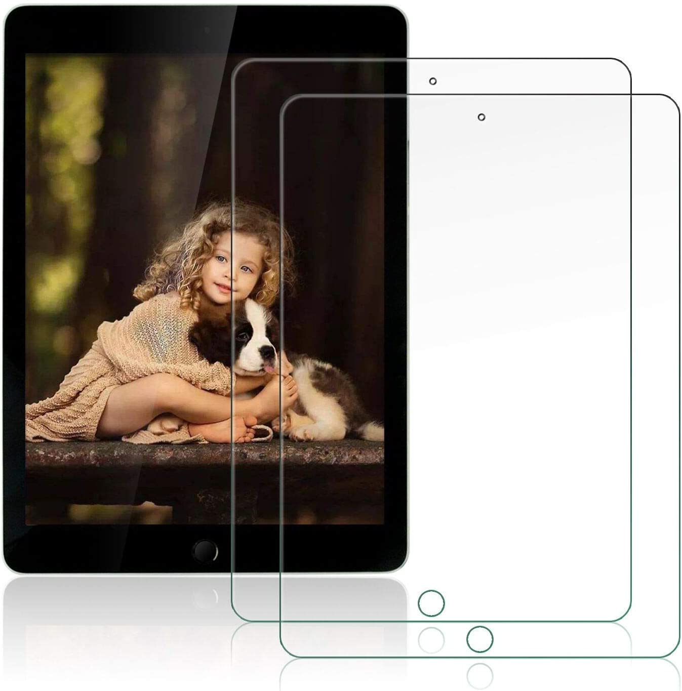 OKP [2 Pack] New Screen Protector for iPad 8th Generation 10.2 inch (2020 Release)/ iPad 7th Generation (2019), Clear Tempered Glass Film with Anti-Scratch/High Definition/Bubble Free