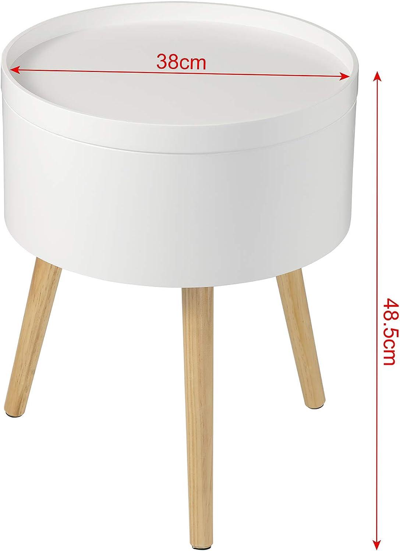 EUGAD 0075ZZ Nachttisch Beistelltisch mit Stauraum Nachtkommode Nachtschrank Holzbeine MDF 38x38x48,5cm Wei/ß