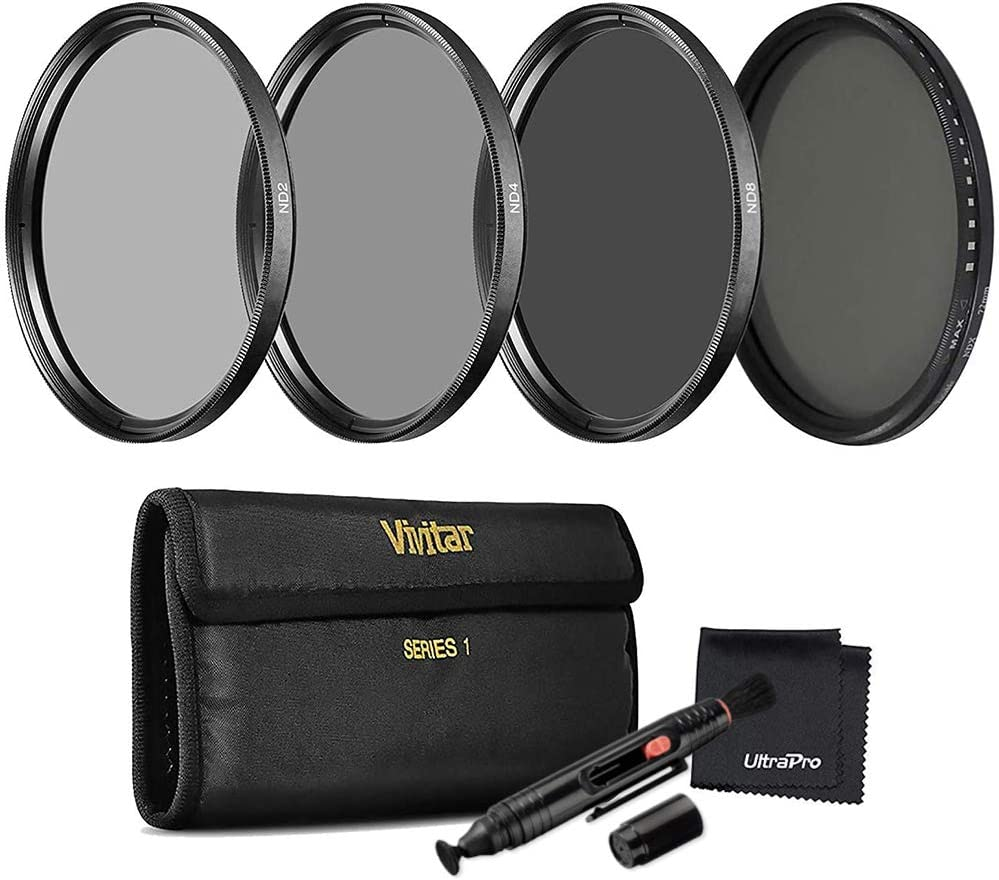 4- 8-Stop Filters Vivitar 67mm Series 1 Neutral Density 4-Filter Bundle Variable ND NDX Filter Includes 2- Carry Case UltraPro Microfiber Cleaning Cloth