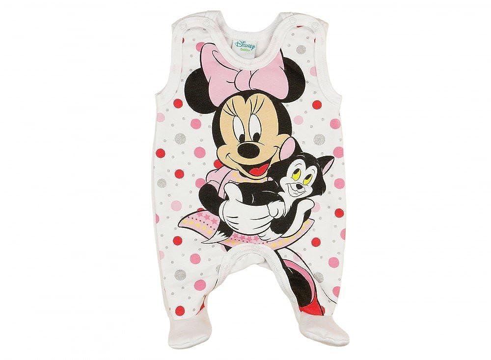 BABY-STRAMPLER mit Füßchen, LEICHT GEFÜTTERT, Spiel-Anzug mit Druckknöpfen, BABY-SCHLAFANZUG ÄRMELLOS mit Minnie Mouse, Grösse 50, 56, 62, 68, Geschenk für Neugeborene, Frühchen LEICHT GEFÜTTERT Grösse 50 Frühchen