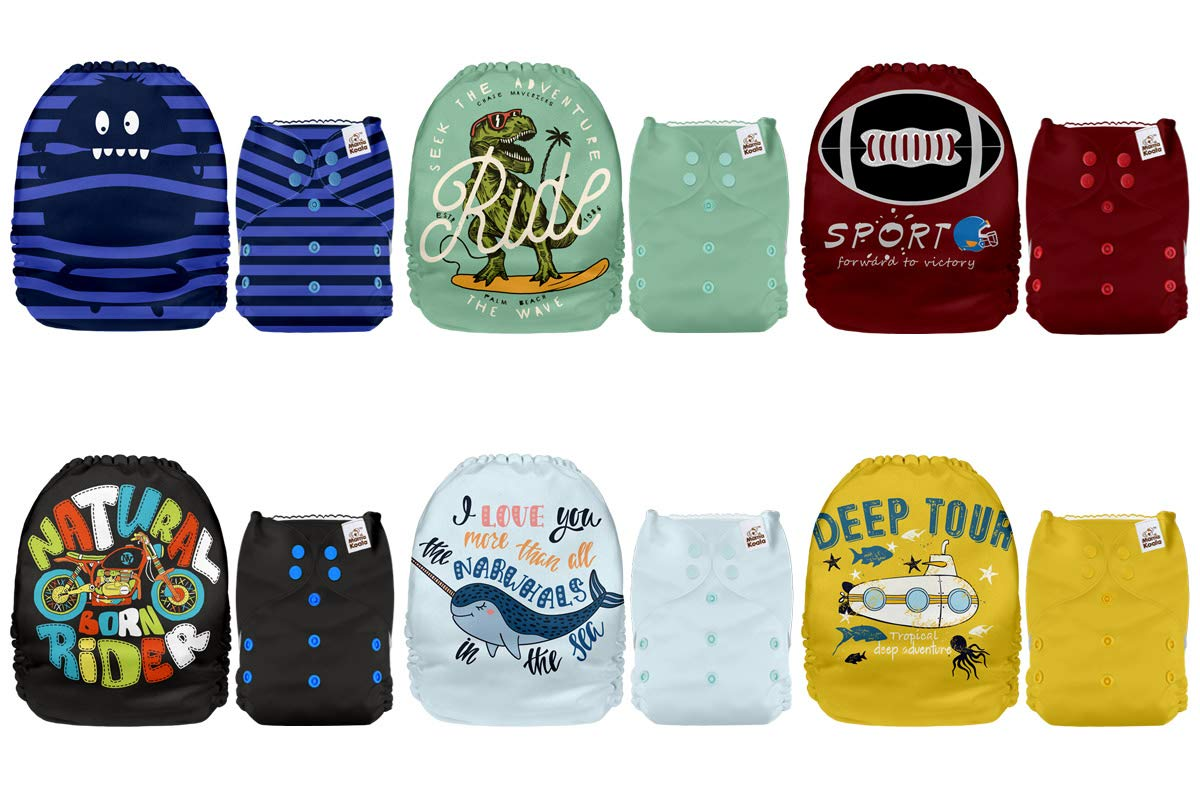 6 Pack with 6 One Size Microfiber Inserts Mama Koala One Size Baby Washable Reusable Pocket Cloth Diapers Melody