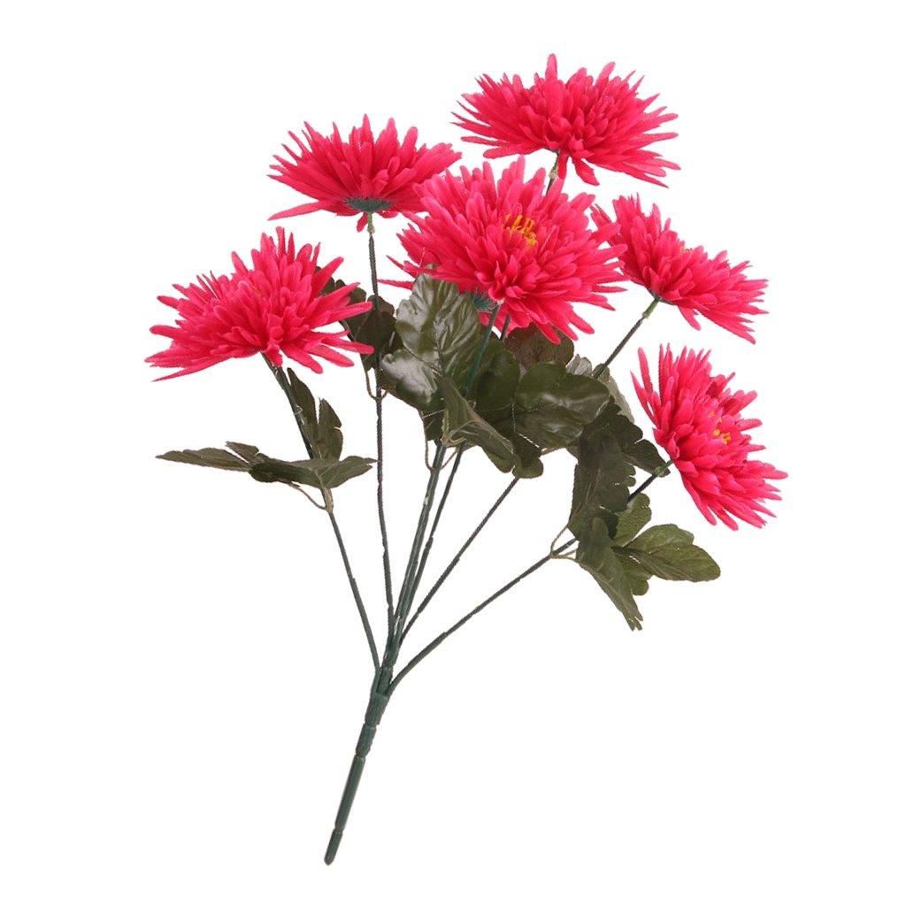 Sharplace Bouquet de Fleur Artificielle Chrysanthème Simulation en Soie Décoration Maison Jardin Balcon - Rouge