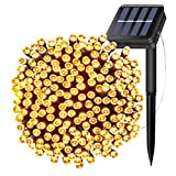 Solar Powered String Lights 66ft 200 LEDs Twinkle Fairy Waterproof Outdoor Rope Decorative Lighting for Christmas Tree,Party,Wedding,Festival Holiday,Indoor,Garden, Patio,Yard Decorations(Warm white)
