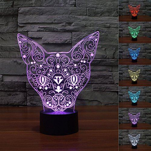 (3D Totem Cat Night Light 7 Color Change LED Table Desk Lamp Acrylic Flat ABS Base USB Charger Home Decoration Toy Brithday Xmas Kid Children Gift)