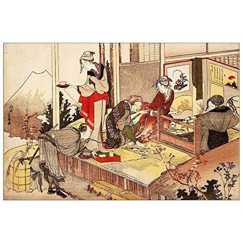 ArtPlaza Hokusai Katsushika -the Studio of Netsuke Panneau Décoratif, Bois, Multicolore, 135 x 1,8 x 90 cm
