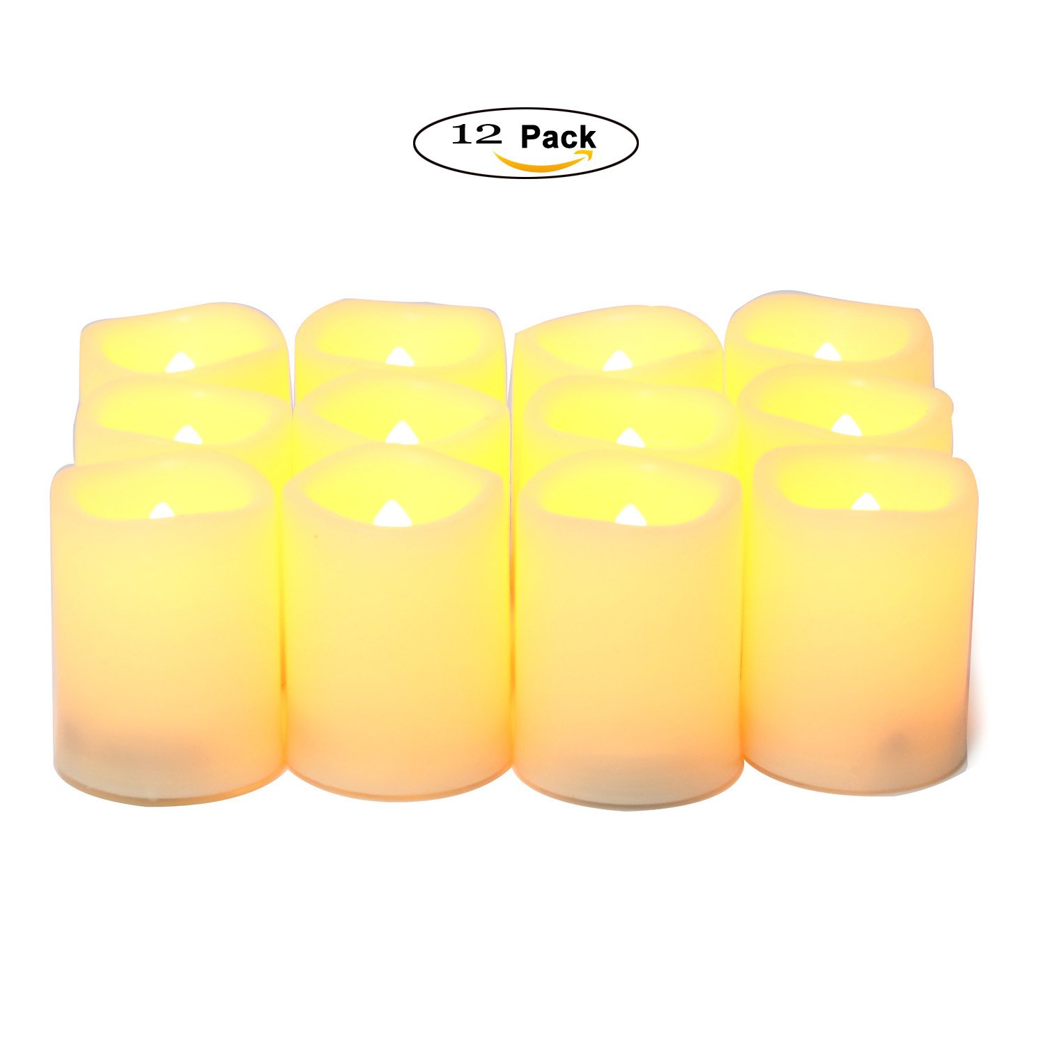 UPBASICN 12 Pieces LED Flameless Battery-operated Votives Candles/Unscented LED Candles/Flameless Candles/Flickering Tealights for Garden wedding,Party,Festival Decorations etc (Batteries Included)