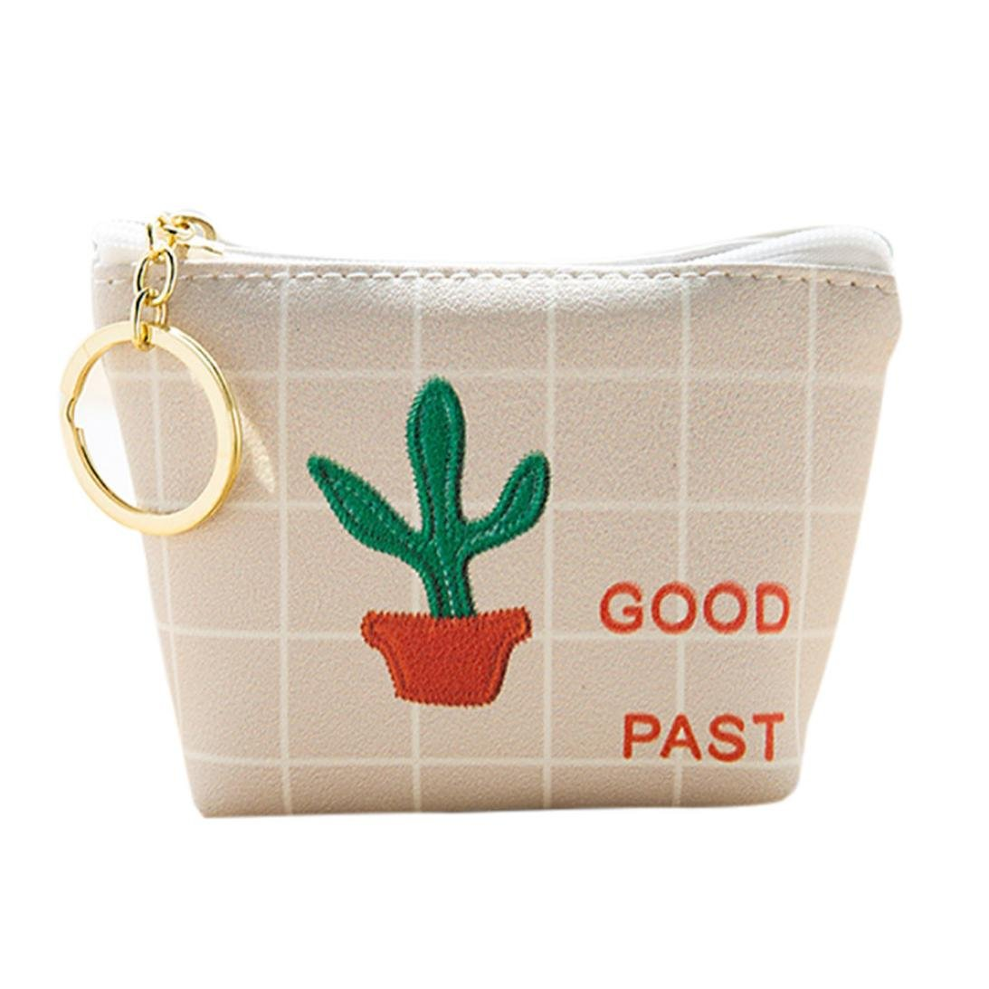 Women Love Bags,Fashion Womens Girls Cute Canvas Coin Purse Wallet Bag Change Pouch Key Holder (Beige)