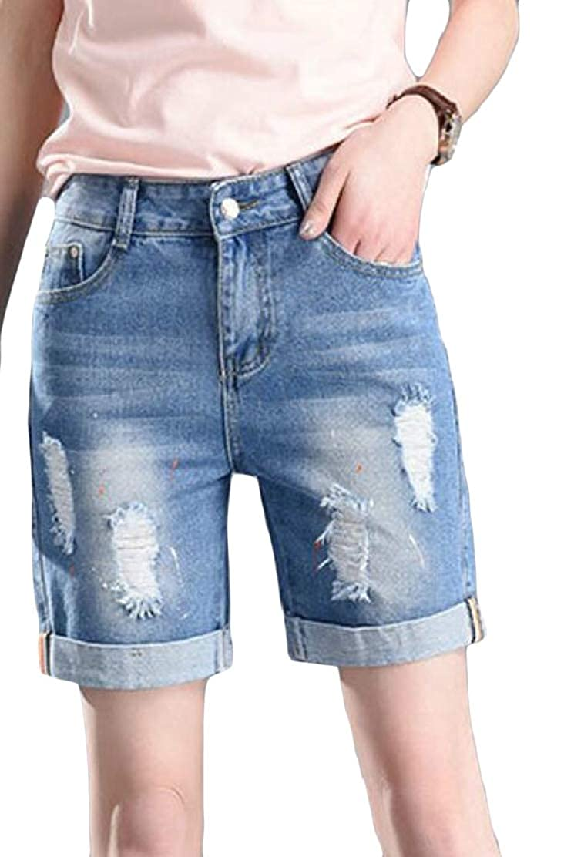 Jotebriyo Womens High Waist Folded Hem Stretchy Ripped Hole Stylish Denim Shorts