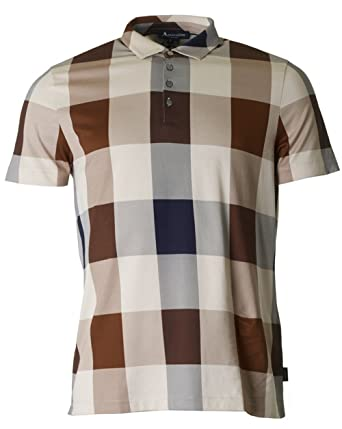Aquascutum Cody Club Check Short Sleeved Polo XXXL VICUNA: Amazon ...
