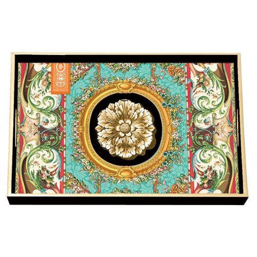 Michel design works decoupage wood vanity tray by 7 for Tray garden designs