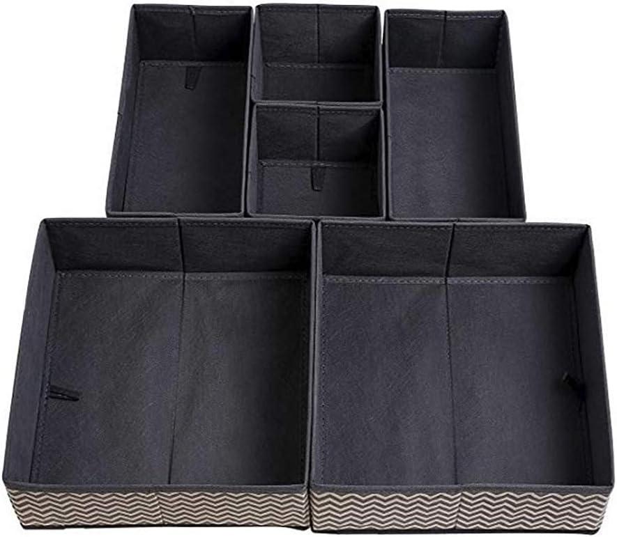 ZhengYue 6 St/ück Aufbewahrungsbox Stoff Set faltbar Unterw/äsche Socken Organizer Ordnungsbox Faltbox Stoffbox f/ür Schubladen Ordnungssystem Kleiderschrank Schubladen Organizer