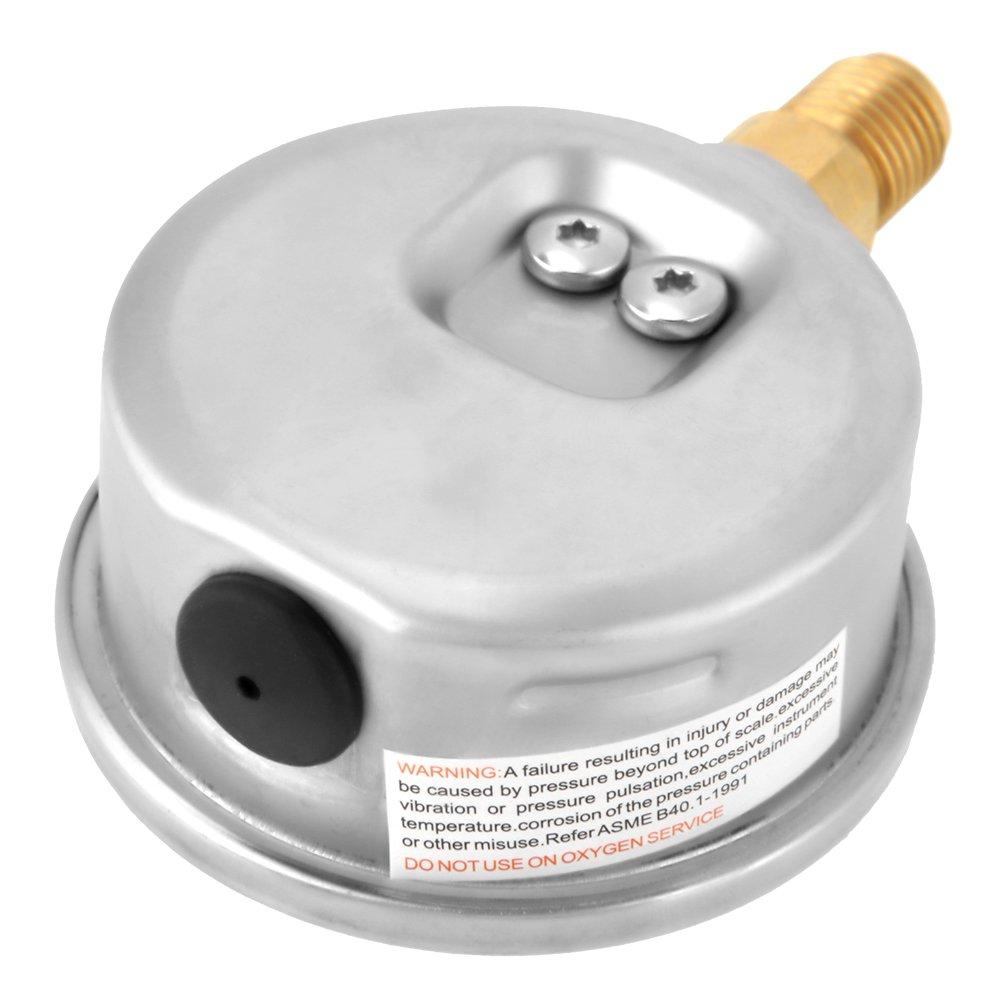 Akozon Hydraulic Water Pressure Gauge Meter Measuring tool,0-250Bar 0-3750PSI G1//4 63mm Dial Hydraulic Water Pressure Gauge Meter