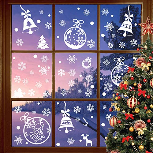 Benvo 190+ Pcs Christmas Decorations Holiday Window Clings Stickers Snowflake Window Decal Includes Christmas Tree, Bells, Snowflake, Candy Cane and More Ornaments for Xmas Festive Decorations ()
