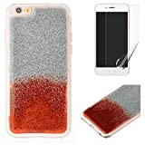 For iphone 6 Plus/6S Plus Glitter Case with Screen Protector,OYIME Luxury Shiny Design Ultra Thin Slim Fit Soft Silicone Rubber Bumper Scratch Resistant Protective Back Cover - Red
