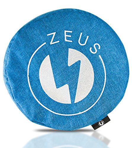 Zeus - Zafu Pillow for Meditation and Yoga - Modern Blue Cushion with Buckwheat Hulls and Unzippable Cover Bag - Back Support & Sitting - Durable Thick Cotton Fiber - 100% Satisfaction Guarantee!