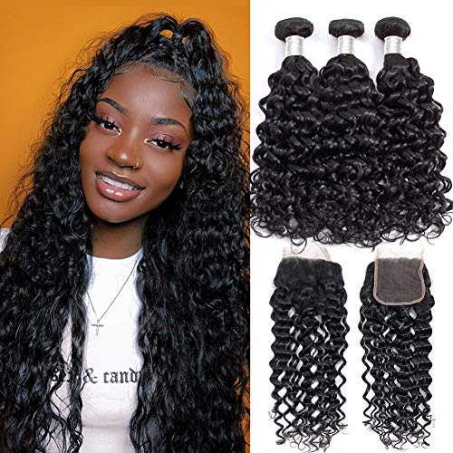 Alibeauty Brazilian Water Wave Bundles with Closure 9A Unprocessed Virgin Human Hair Weave 3 Bundles with Closure Natural Black Remy Hair Extensions (16 18 20+14inch)