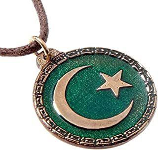 product image for From War to Peace Crescent Moon and Star Green Enamel Pendant Necklace on Adjustable Natural Fiber Cord