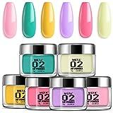 Dipping Nail Powder Colors Set - 6 Dip Powders Colors Candy Summer Colors Nails Set,No Nail Lamp Needed, Acrylic Dipping Powd