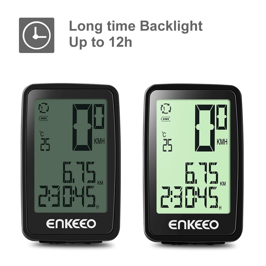 Enkeeo Wired Bike Computer Usb Rechargeable With 12 Hour Backlight Digital Radar Speedometer Display Current Avg Max Speed Tracking Trip Time Distance Recording
