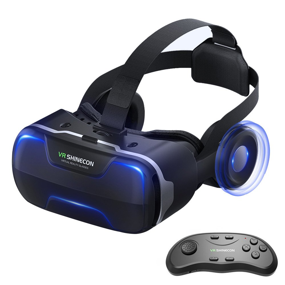 Eleovo 3D VR Headset With Remote Controller Large Viewing Experience Virtual Reality Glasses with Builted-in Stereo Headphone for VR Games 3D Movies Fit for 4.7-6.0 Inches iPhone Android Smartphones