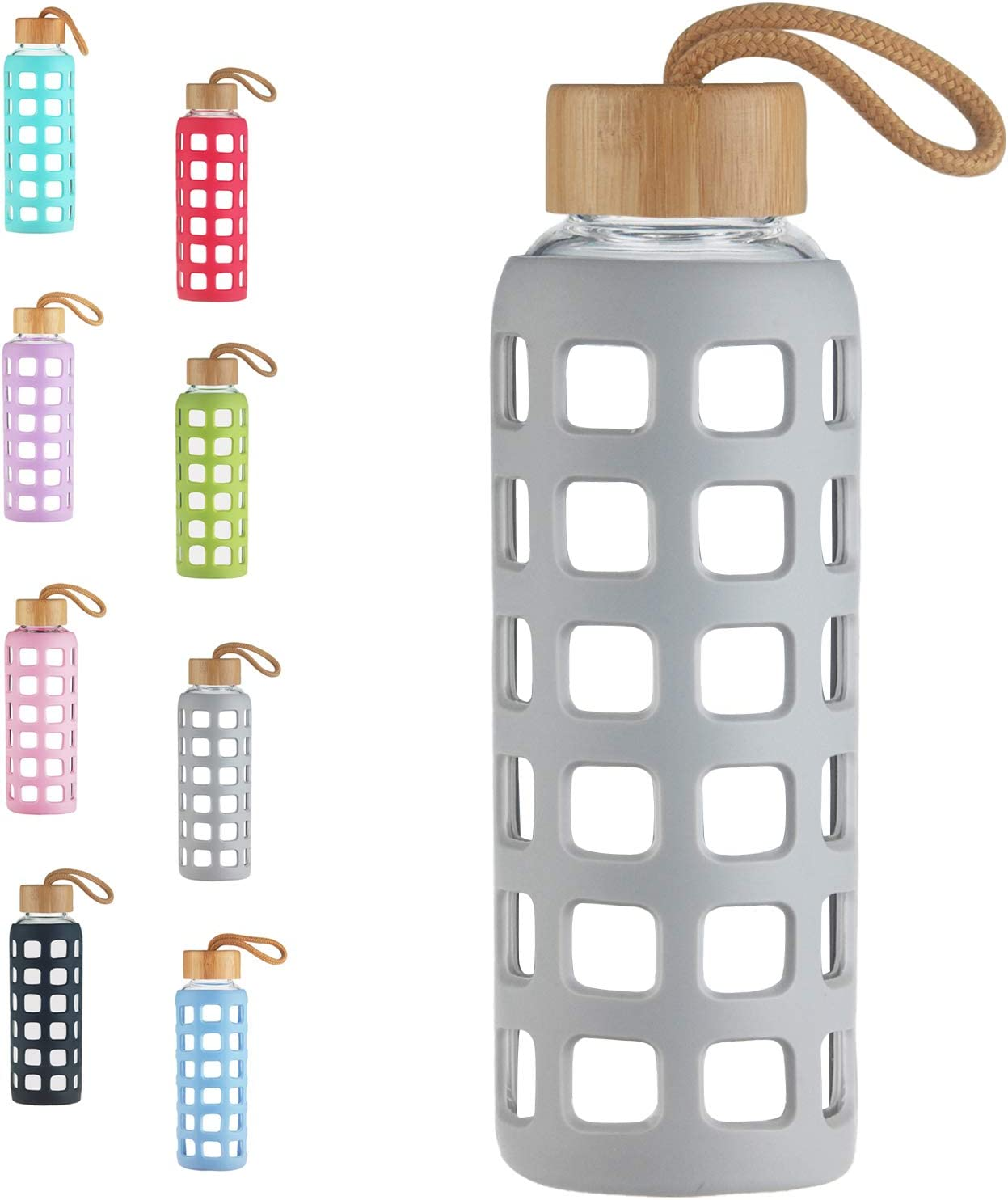 Cleesmil BPA Free Glass Water Bottle with Anti-Slip Silicone Sleeve with Bamboo Lid Leak Proof 22 oz (Grey