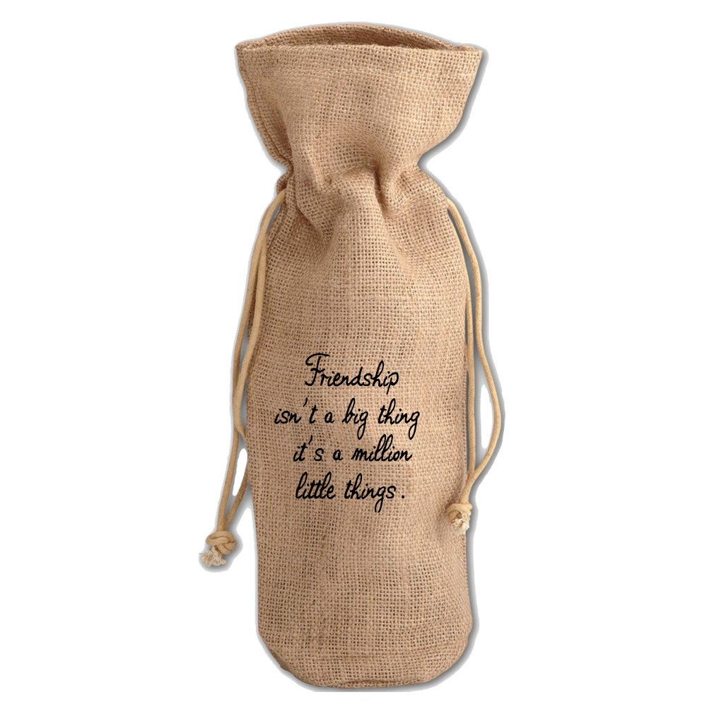 Friendship Isn'T Million Little Things Jute Burlap Burlap Wine Drawstring Bag by Style in Print (Image #1)