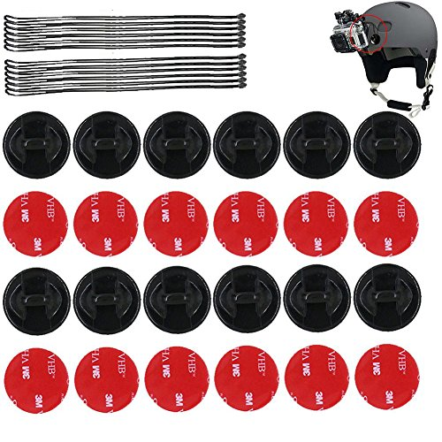 SUNMENCO 24pcs Helmet 3M Adhesive VHB Stickers & Insurance Tether Straps Action Camera Accessories Kits for GoPro Hero 6 5 4 / xiao mi yi/AKASO / Sony Sports dvr