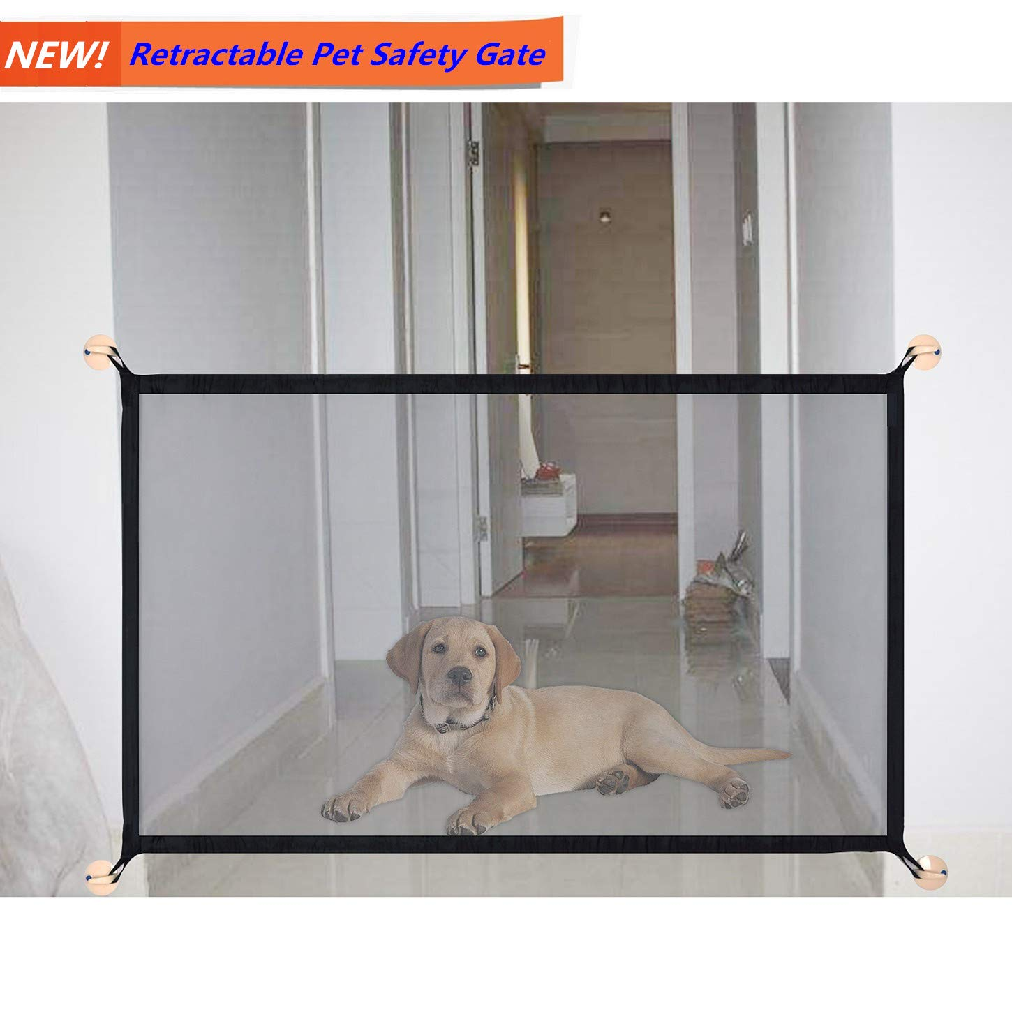 Magic Gate Portable Folding Safe Guard Install Anywhere Pet Safety Enclosure Commercial Magic Gate As Seen On TV(L: 70.8 inches x W:28.5 inches,can be Adjustable)