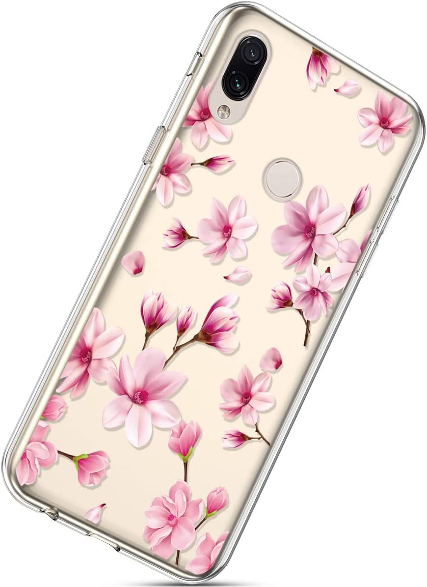 Herbests Compatible with Xiaomi Redmi Note 7 Flower Case Girls Men Clear Design Thin Slim Fit Soft Flexible Crystal Transparent Silicone Rubber TPU Back Cover,Happy Cat