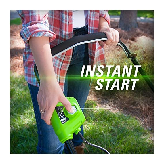 Greenworks g-max 40v 20-inch cordless 3-in-1 lawn mower with smart cut technology, (1) 4ah battery and charger included mo40l410 9 includes (1) max capacity 4 ah - 40v lithium battery , cutting heights - 5 position durable 20'' steel deck lets you mulch, bag, or side discharge allowing you to maintain your yard the way you want it. This lawn mower is not self-propelled innovative smart cut technology automatically increases the speed of the blade when more power is needed