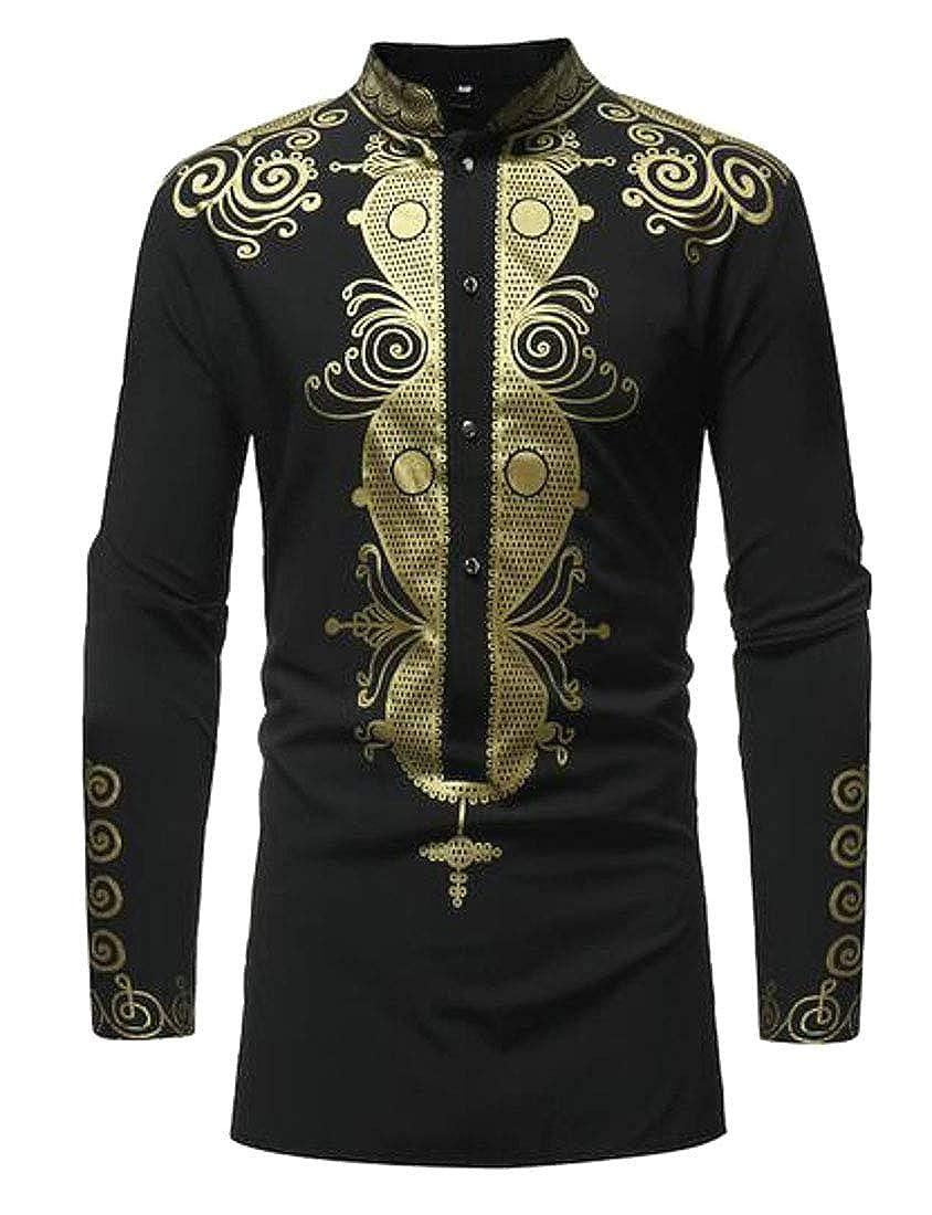 Fubotevic Men African Print Dashiki Casual Long Sleeve Stand Collar Dress Shirt Tops