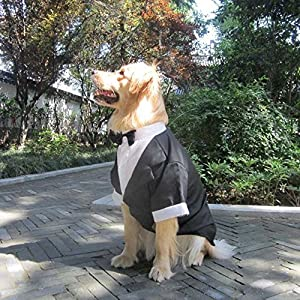Large Dog Wedding tuxedo with bowtie cotton dogs formal party suit clothes (black, XL)