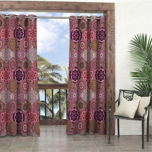 (Linhomedecor Garden Waterproof Curtains Patchwork Mandala Inspired Ogee Pattern Honeycomb Style Detailed Stylized Eastern Motifs Multicolor doorways Grommet Patterned Curtain 84 by 72 inch)