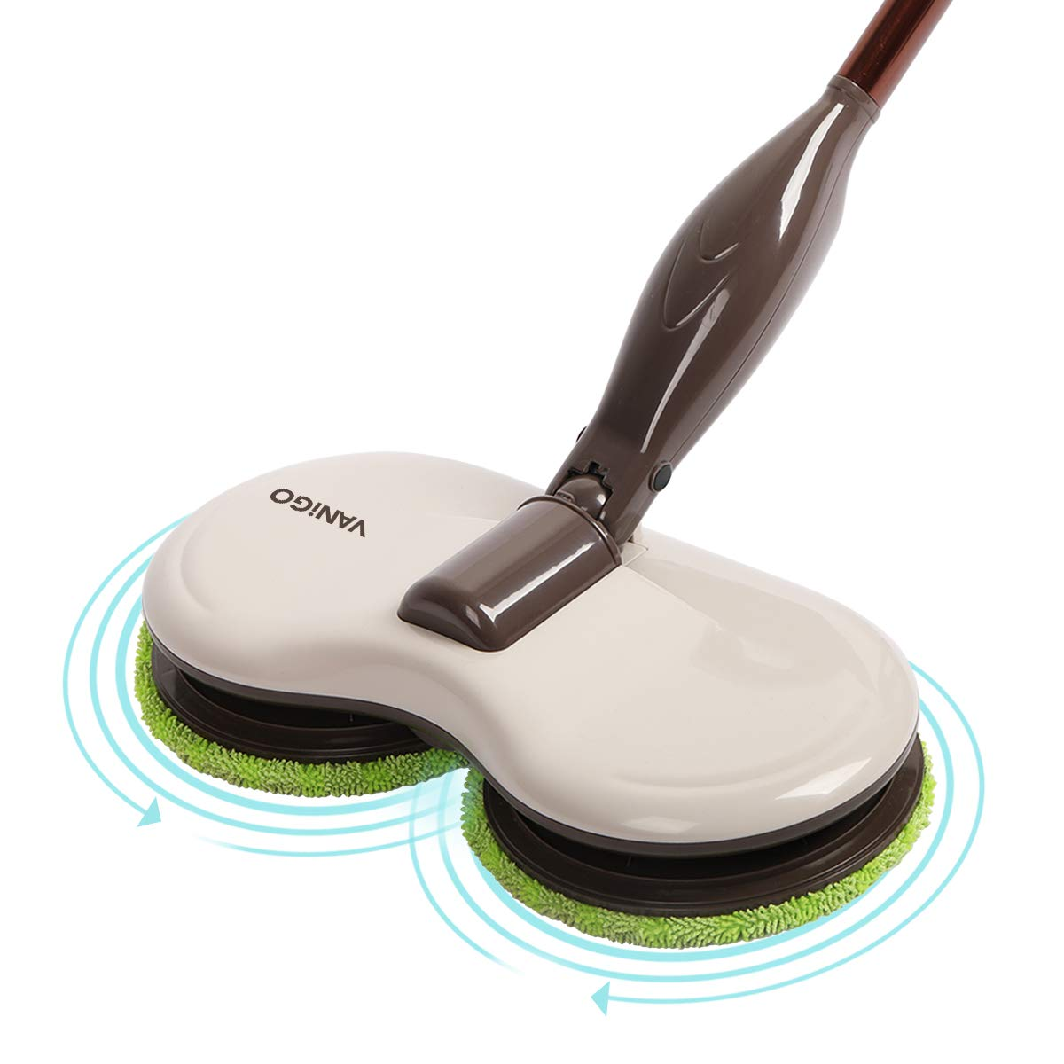 VANiGO Electric Spin Mop for Tile Hard Wood Floor Window and Ceiling, with 120rpm Dual Rotary Cleaning Heads, Replaceable Pads and Extendable Handle, 90 min Working Time