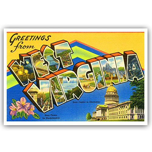 GREETINGS FROM WEST VIRGINIA vintage reprint postcard set of 20 identical postcards. Large letter US state name post card pack (ca. 1930's-1940's). Made in USA.