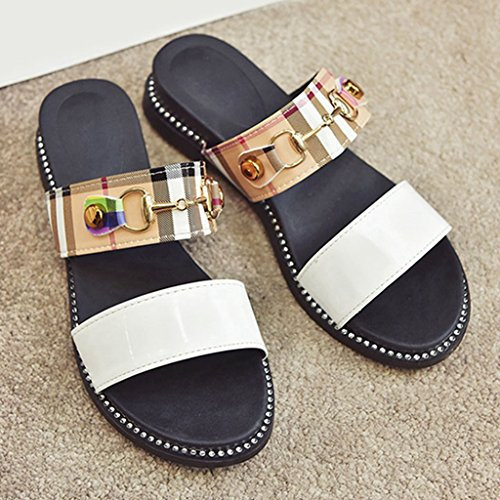 Forme JRenok Beach Slide Glissade sur Orteil Blanc Ouvert Plate Sandale Summer Sandales Plate Femmes Boucle Semelle Glissière YHRqYAw