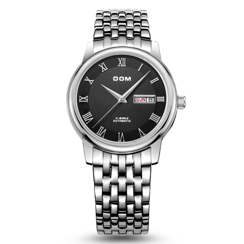 Hohle automatische mechanische Uhr-Business Day-Date Edelstahl wasserdicht Herrenuhr-B