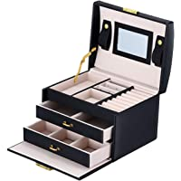 L'cattie Portable Small Jewelry Box Leather Jewelry Organizer Travel Storage Case for Rings Earrings with Mirror