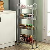 SINGAYE 4 Tier Slim Rolling Cart Kitchen Storage Organizer Mesh Wire Storage Carts with Lockable Wheels(Rolling Slim…