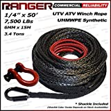 Ranger 7,500 LBs 1/4'' x 50' UHMWPE Synthetic Winch Rope 6MM x 15M for UTV / ATV Winch