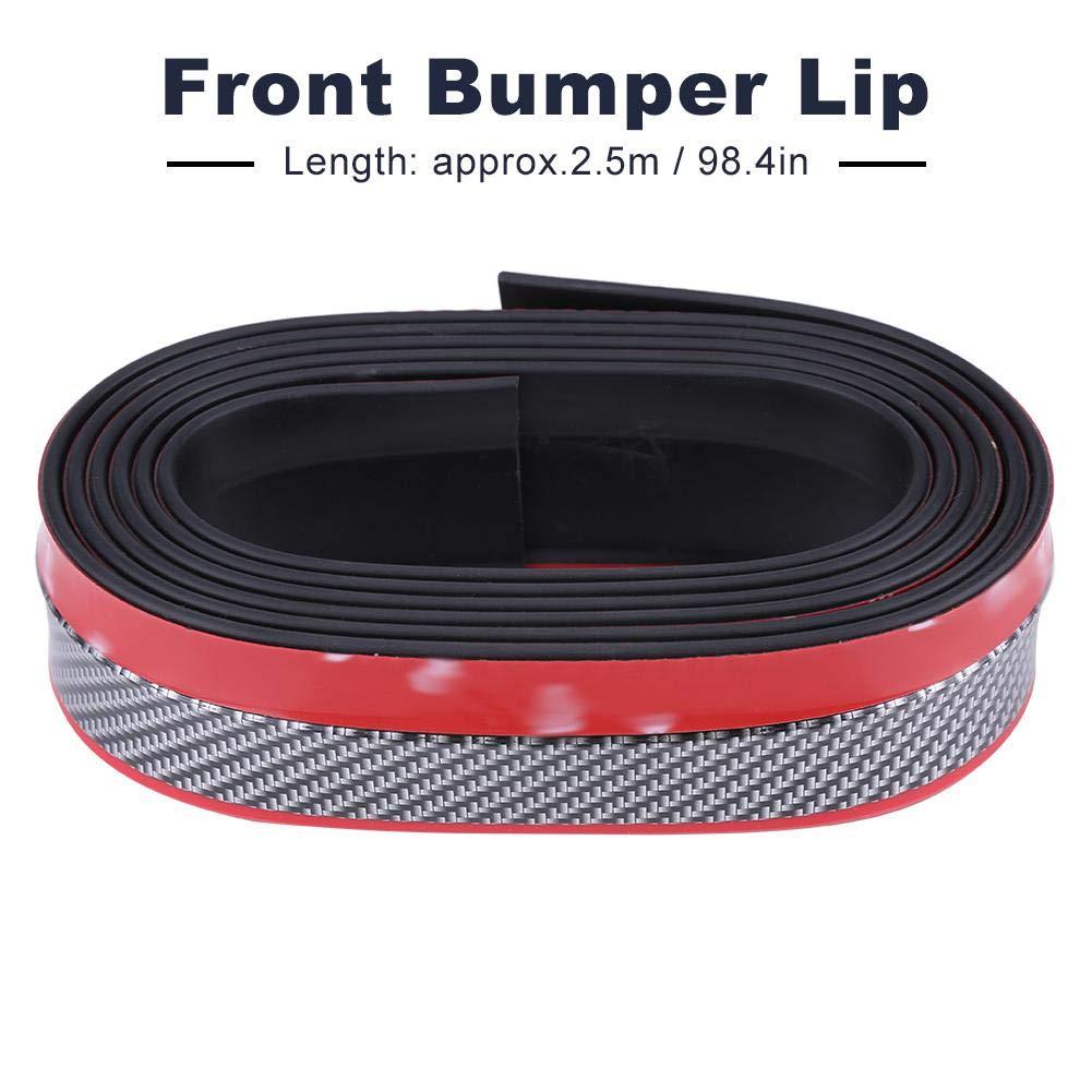 2,5 metri in fibra di carbonio paraurti anteriore per auto protettore per labbra Spoiler in gomma universale rosso e nero Labbro per paraurti anteriore Suuonee