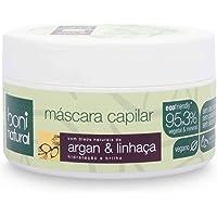 Mascara Capilar Vegana e Natural Argan e Linhaça, Cabelos Hidratados e Saudaveis, Boni Natural, Branco
