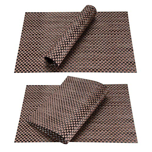 Top Finel Table Mats Sets Crossweave PVC Washable Stain Resistant Durable Dining Table Outdoor,Brown,Set of 8 by Top Finel (Image #5)'